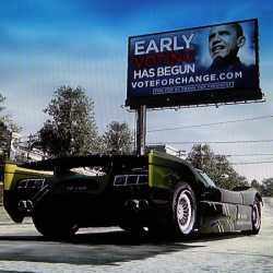 Obama racer. Notice the car is stationary.