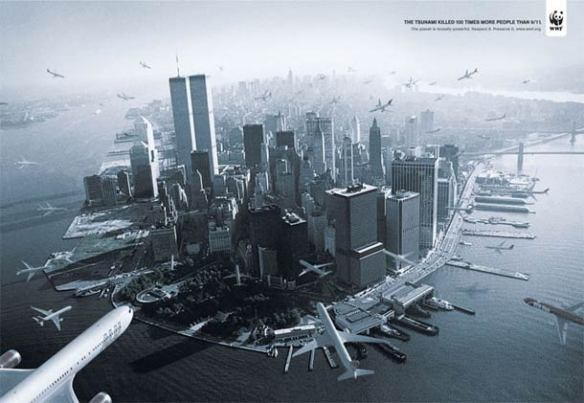 COPY LINE: The tsunami killed 100 times more people than 9/11. The planet is brutally powerful. Respect it. Preserve it.